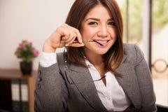 Leuke flirty bedrijfsvrouw Royalty-vrije Stock Foto
