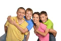 Leuke geïsoleerde familie Stock Afbeeldingen