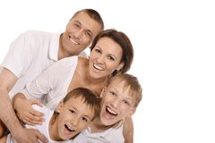 Leuke geïsoleerde familie Royalty-vrije Stock Fotografie