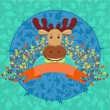 Leuke gehoornde elanden met banner en de herfst bloemendecoratie Stock Foto's