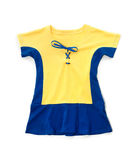 Leuke gele blauwe kinderenkleding Stock Foto's