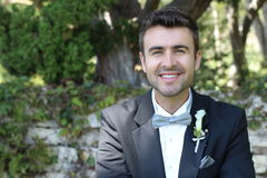 Leuke gelukkige bruidegom met een schitterende glimlach stock foto's