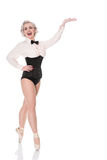 Leuke gelukkige jonge danser in korset & vlinderdas, gebaren naar royalty-vrije stock foto's