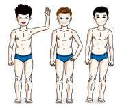 Leuke gelukkige jonge tienerjongens die in blauw ondergoed stellen Vector duik Stock Foto's