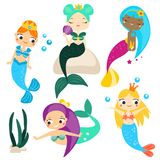 Leuke geplaatste beeldverhaalmeerminnen en ontwerpelementen Stickers, klemkunst voor meisjes in kawaiistijl stock illustratie