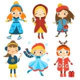 Leuke geplaatste de wintermeisjes De activiteit van de jonge geitjeswinter Vectorinzameling van beeldverhaal vrouwelijke karakter Stock Fotografie