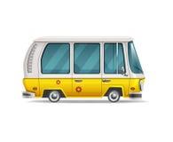 Leuke gestileerde die retro reisbestelwagen op witte achtergrond wordt geïsoleerd vector illustratie