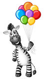 Leuke gestreepte holdings kleurrijke ballons vector illustratie