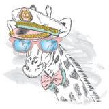 Leuke giraf in de kapitein ` s GLB Royalty-vrije Stock Afbeeldingen