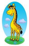 Leuke giraf die zich op gras bevindt vector illustratie