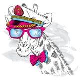 Leuke giraf in GLB van de kapitein Vector illustratie Royalty-vrije Stock Afbeeldingen