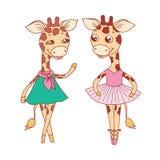 Leuke giraffen - in blauwe kleding, danst de ballerina in een tutu en op pointes stock fotografie