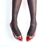 Leuke glanzende rode schoenen Royalty-vrije Stock Afbeelding