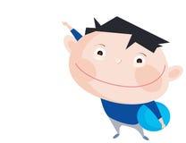 Leuke glimlachende jongen die met blauwe bal met hierboven vinger richten Stock Afbeelding