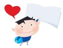 Leuke glimlachende jongen die met rode hart-vormige bel met vinger hierboven op een lege ruimte voor een nota richten Royalty-vrije Stock Foto