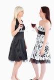 Leuke goed-geklede vrouwen die rode wijn drinken royalty-vrije stock foto's