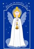 Leuke gouden-haired engel met trompet, Kerstmisillustratie met Latijnse inschrijving Gloria in excelsis Deo Het trekken op stock illustratie