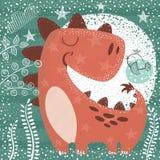 Leuke grappige Dino - geweven illustratie royalty-vrije illustratie