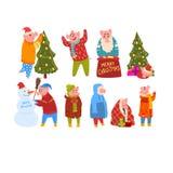 Leuke grappige varkens die Nieuwjaarreeks, piggy karakters vieren die warme heldere kleren in verschillende Chinese situaties dra royalty-vrije illustratie