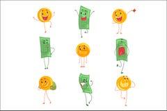 Leuke grappige vermenselijkte bankbiljetten en muntstukken die verschillende emotiesreeks kleurrijke karakters vectorillustraties vector illustratie