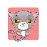 Leuke grijze kat die omhoog worden geworpen stock illustratie