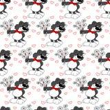 Leuke grijze kat met bloemen Achtergrond met rood hart valentine Royalty-vrije Stock Afbeeldingen