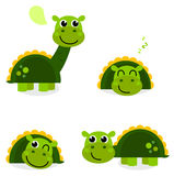 Leuke groene dinosaurusreeks die op wit wordt geïsoleerdg Stock Fotografie