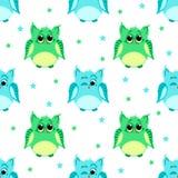 Leuke groene en blauwe gekleurde uilen Stock Fotografie