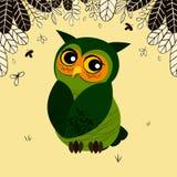 Leuke groene het glimlachen uil met grote ogen vector illustratie