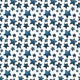 Leuke grote en kleine blauwe sterren, begroeting van sterren Patroon vector illustratie