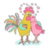 Leuke haan en kippensticker Royalty-vrije Stock Afbeelding