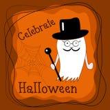 Leuke Halloween-spookheer in hoge zijden met wandelstok royalty-vrije illustratie