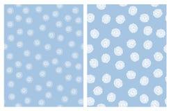 Leuke Hand Getrokken Abstracte Bloemen Vectorpatronen Blauw en Wit Eenvoudig Ontwerp stock illustratie