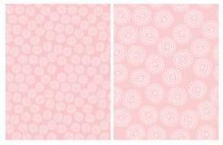 Leuke Hand Getrokken Abstracte Bloemen Vectorpatronen Roze en Wit Eenvoudig Ontwerp royalty-vrije illustratie
