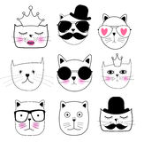 Leuke Hand getrokken Cat Set Vector Illustration Stock Fotografie