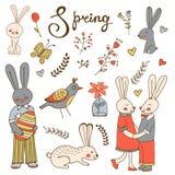 Leuke hand getrokken de lenteinzameling met konijnen en bloemen Stock Fotografie