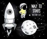 Leuke hand getrokken elementen voor kosmisch ontwerp vector illustratie