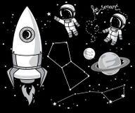 Leuke hand getrokken elementen voor kosmisch ontwerp royalty-vrije illustratie