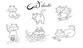 Leuke hand getrokken katten de vectorillustratie van krabbeldieren Stock Afbeeldingen