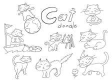 Leuke hand getrokken katten de vectorillustratie van krabbeldieren Royalty-vrije Stock Foto