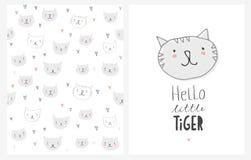 Leuke Hand Getrokken Katten Vectorillustraties royalty-vrije illustratie
