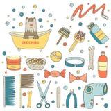 Leuke hand getrokken krabbel het verzorgen objecten inzameling royalty-vrije illustratie