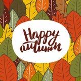 Leuke hand getrokken krabbelkaart, prentbriefkaar met de herfstbladeren royalty-vrije illustratie