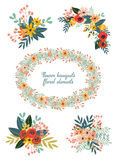 Leuke hand getrokken krabbels bloemenboeketten Royalty-vrije Stock Foto