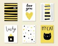 Leuke hand getrokken krabbelverjaardag, partij, de kaarten van de babydouche royalty-vrije illustratie