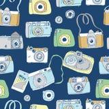 Leuke hand getrokken oude en nieuwe camera's Beste de zomergeheugen Stock Foto's