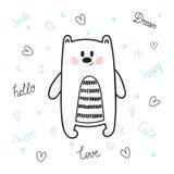 Leuke hand getrokken prentbriefkaar met grappige beer Kaart voor meisje of jongen Malplaatje voor uw ontwerp De stijl van de krab Royalty-vrije Stock Foto's