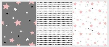 Leuke Hand Getrokken Sterren en Strepen Onregelmatige Vectorpatronen Roze, Zwart, Wit en Licht Gray Stars stock illustratie