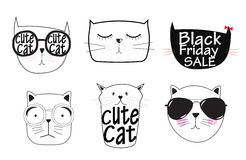 Leuke Handdrawn Cat Set Vector Illustration Stock Fotografie