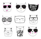 Leuke Handdrawn Cat Set Vector Illustration Royalty-vrije Stock Fotografie